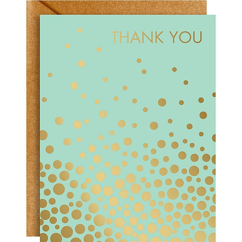 Gold Confetti Mint A2 Thank You Notes - Invitations and Thank You Notes - Anglo Dutch Pools and Toys