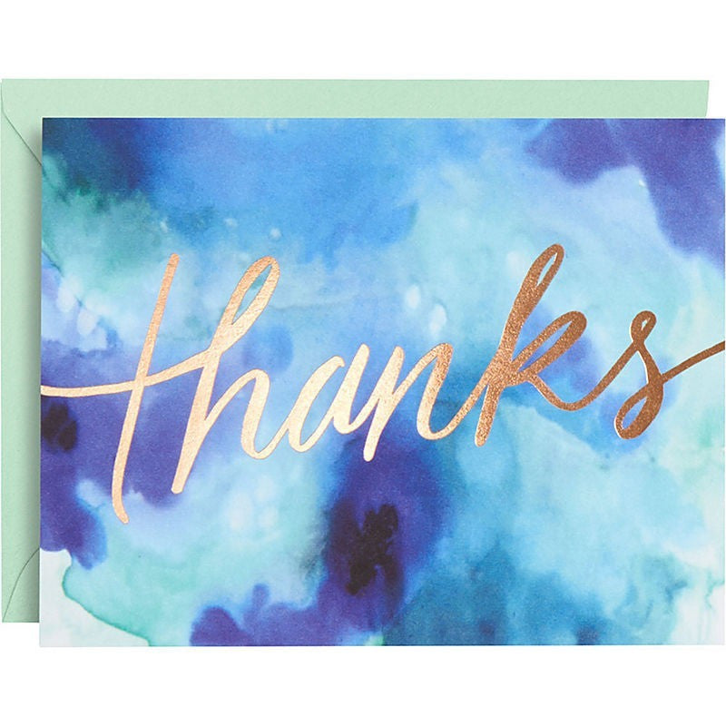 Gold Foil Blue Watercolor Thank You Notes - Invitations and Thank You Notes - Anglo Dutch Pools and Toys