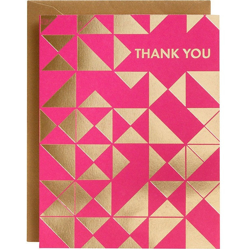 Gold Triangles Fuchsia A2 Thank You Notes - Invitations and Thank You Notes - Anglo Dutch Pools and Toys