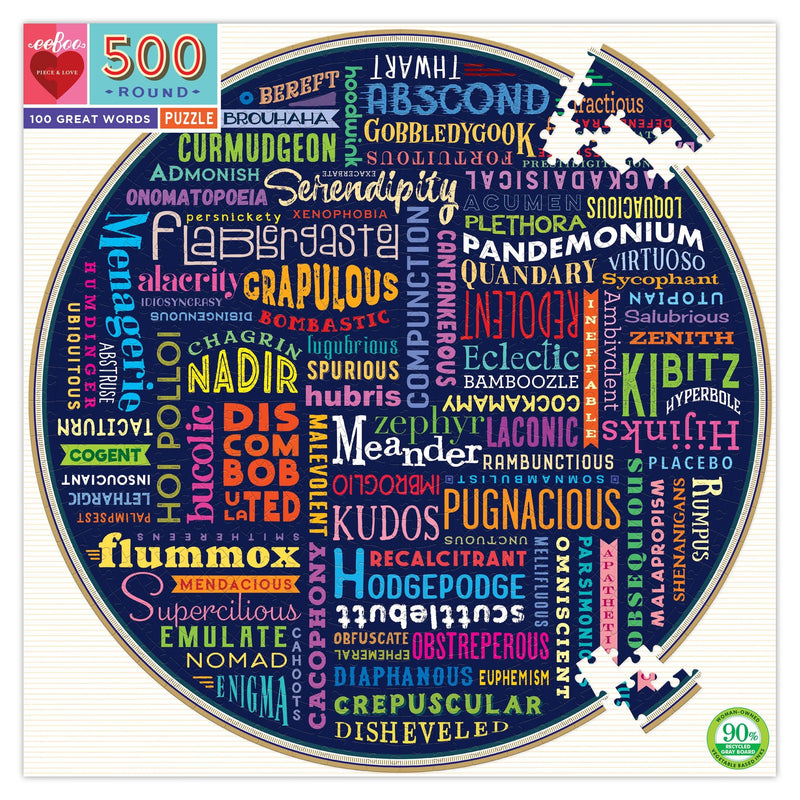 Jigsaw Puzzles - EeBoo 100 Great Words 500 Piece Round Puzzle