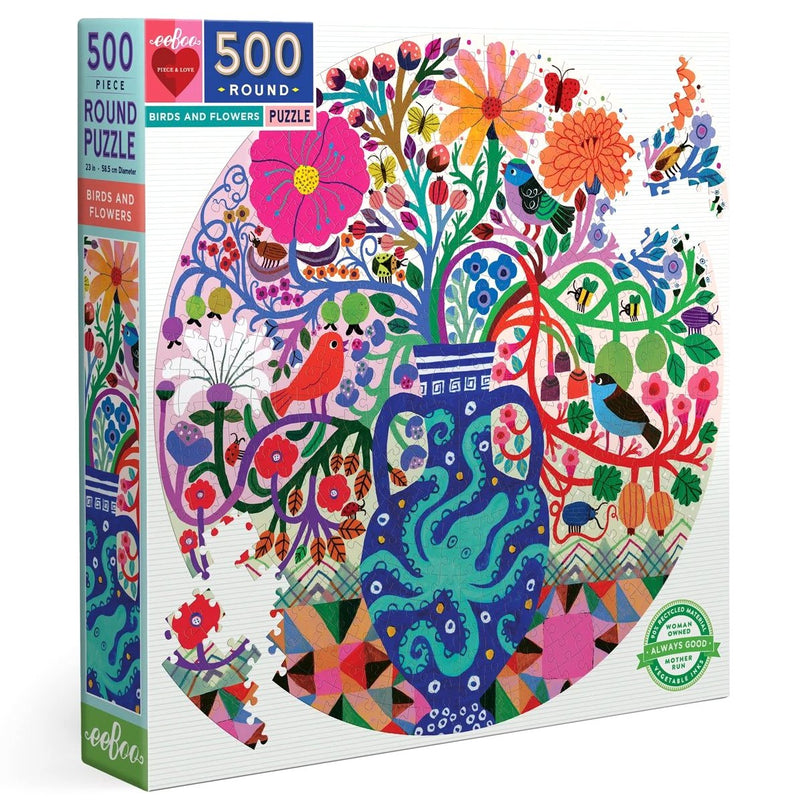 Jigsaw Puzzles - EeBoo Birds And Flowers 500 Piece Round Puzzle