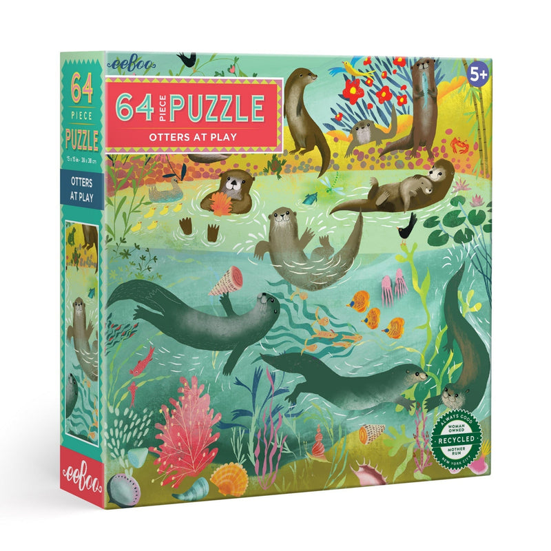 Jigsaw Puzzles - EeBoo Otters At Play 64 Piece Puzzle
