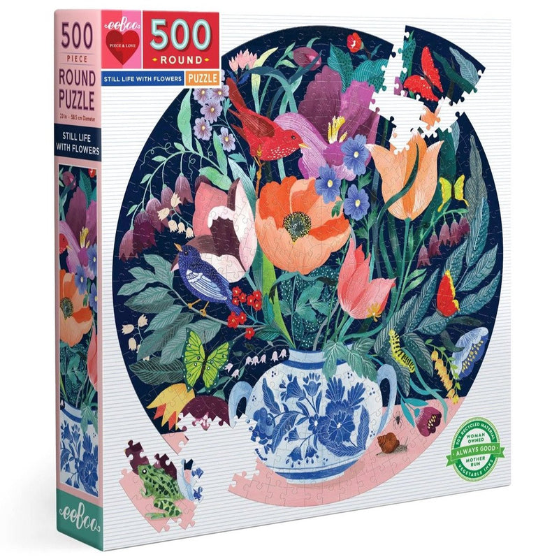 Jigsaw Puzzles - EeBoo Still Life With Flowers 500 Piece Round Puzzle
