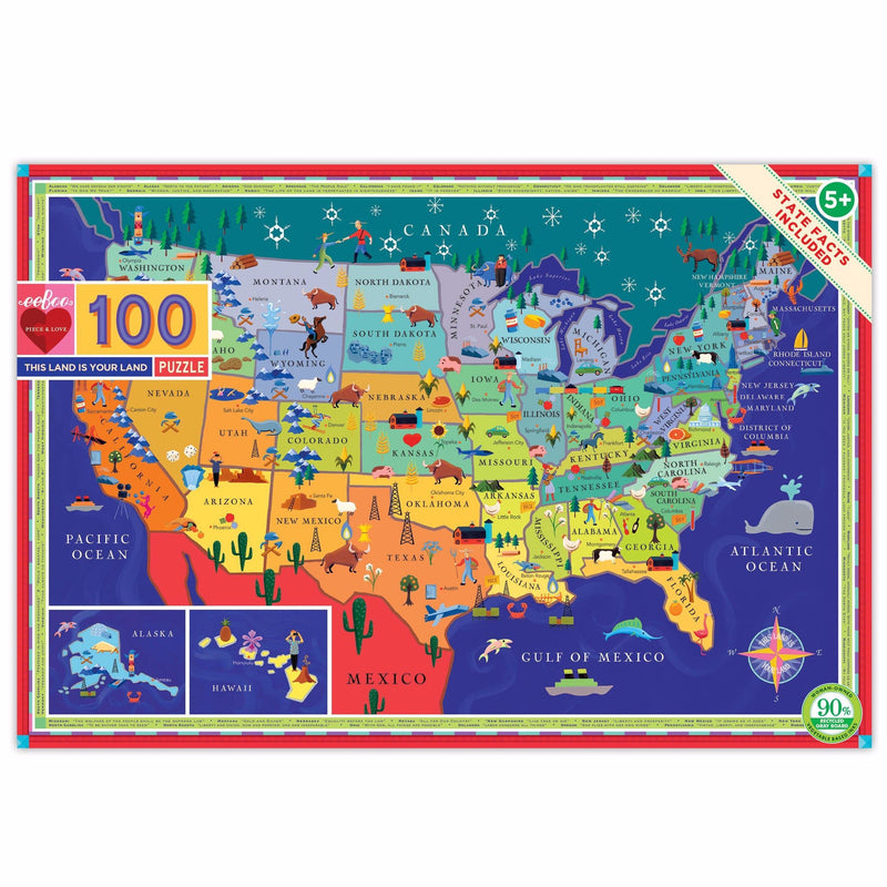 Jigsaw Puzzles - EeBoo This Land Is Your Land 100 Piece Puzzle