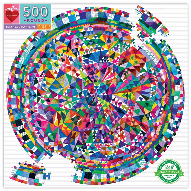 Jigsaw Puzzles - EeBoo Triangle Pattern 500 Piece Round Puzzle