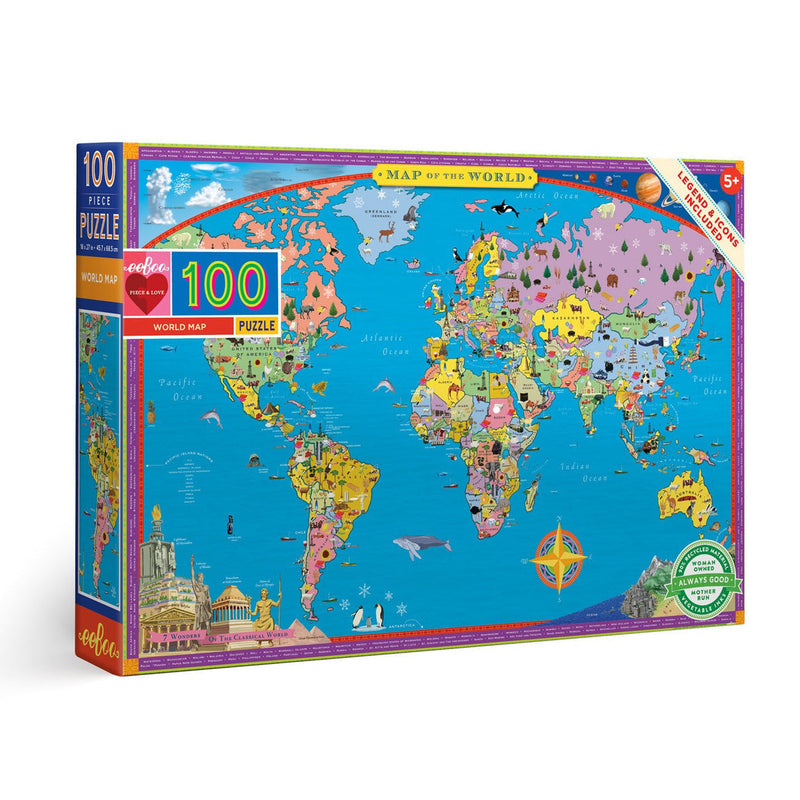 eeBoo World Map 100 Piece Puzzle