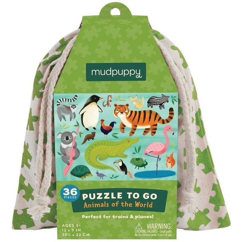 Mudpuppy Puzzle To Go- Animals of the World 36 Pc
