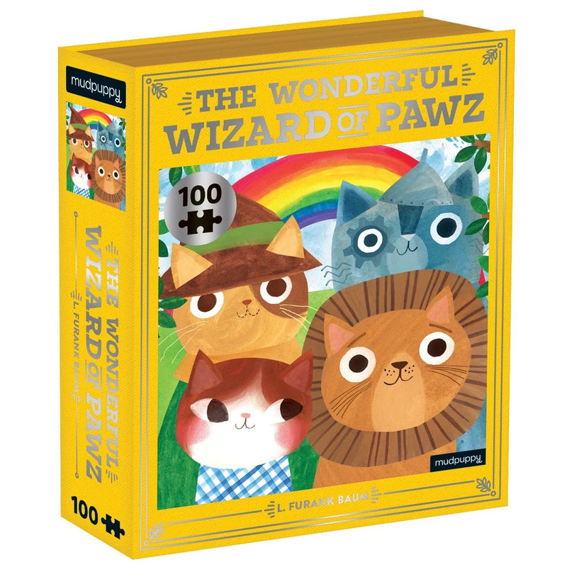 Jigsaw Puzzles - Mudpuppy The Wonderful Wizard Of Pawz Bookish Cats Puzzle 100 Pc