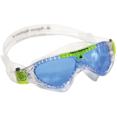 Aqua Sphere Vista Jr. Mask - Blue Lens- Translucent Frame with Lime Accents- Anglo Dutch Pools & Toys  - 1