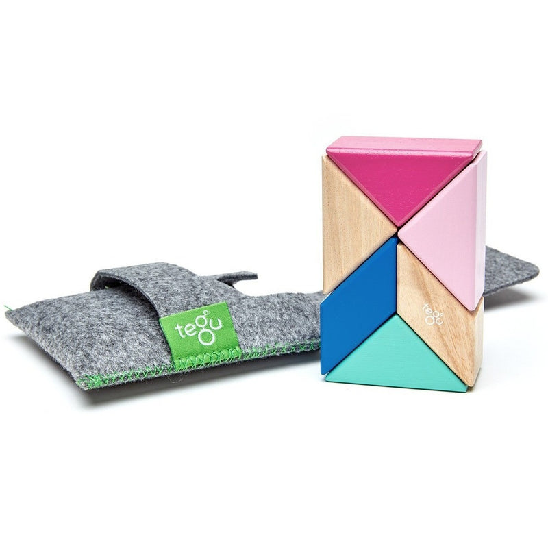 Magnetic Building Sets - Tegu Pocket Pouch Prism Magnetic Wooden Block Set- Blossom