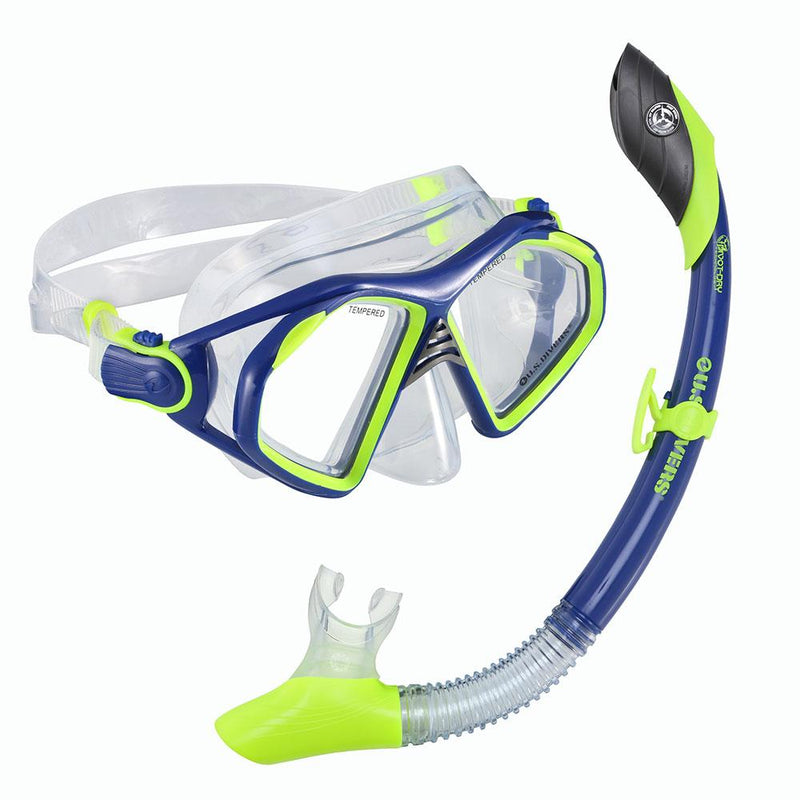 Mask And Snorkel Set - U.S. Divers Admiral LX + Island Dry Mask & Snorkel- Neon Blue