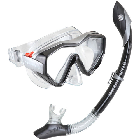 Mask And Snorkel Set - U.S. Divers Anacapa 1 + Island Dry Mask & Snorkel- Black