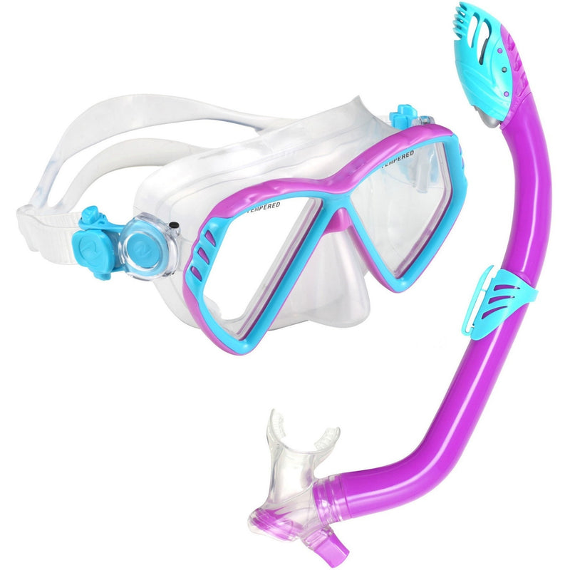 Mask And Snorkel Set - U.S. Divers Regal Jr + Laguna Mask & Snorkel Set-Purple/Aqua
