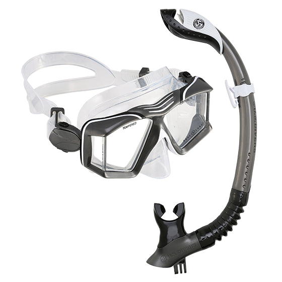 Mask And Snorkel Set - U.S. Divers Sideview II LX + Paradise Dry II GO LX Mask & Snorkel- Black