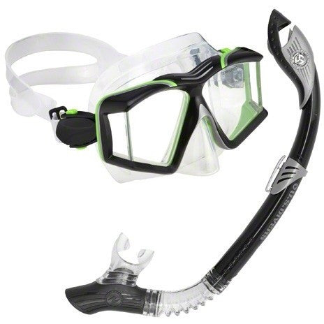 U.S. Divers Sideview II LX + Paradise Dry LX Mask & Snorkel- Black/Green- - Anglo Dutch Pools & Toys