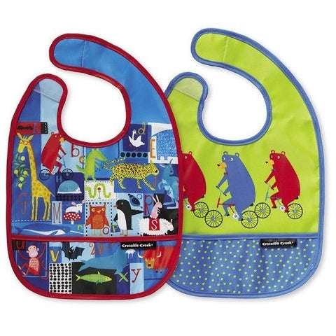 Mealtime - Crocodile Creek ABC Bear & Friends Bibs 2 Go (Set Of 2+ Travel Pouch)