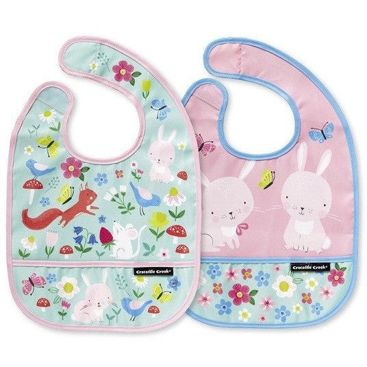 Mealtime - Crocodile Creek Backyard Friends Bibs 2 Go (Set Of 2+ Travel Pouch)