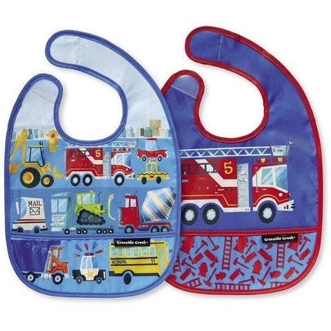 Mealtime - Crocodile Creek Busy City Bibs 2 Go (Set Of 2+ Travel Pouch)