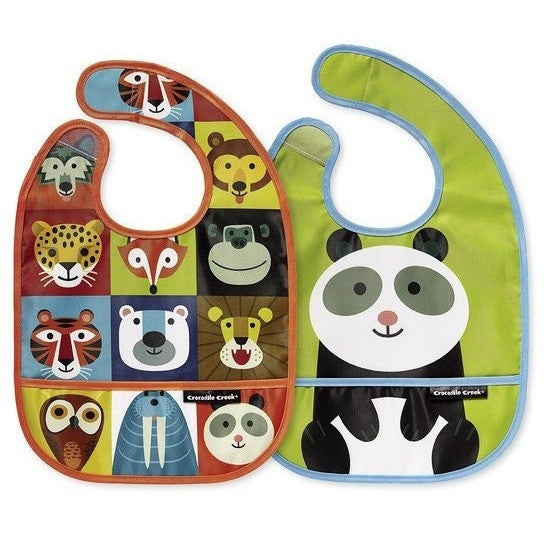 Mealtime - Crocodile Creek Jungle Jamboree Bibs 2 Go (Set Of 2+ Travel Pouch)