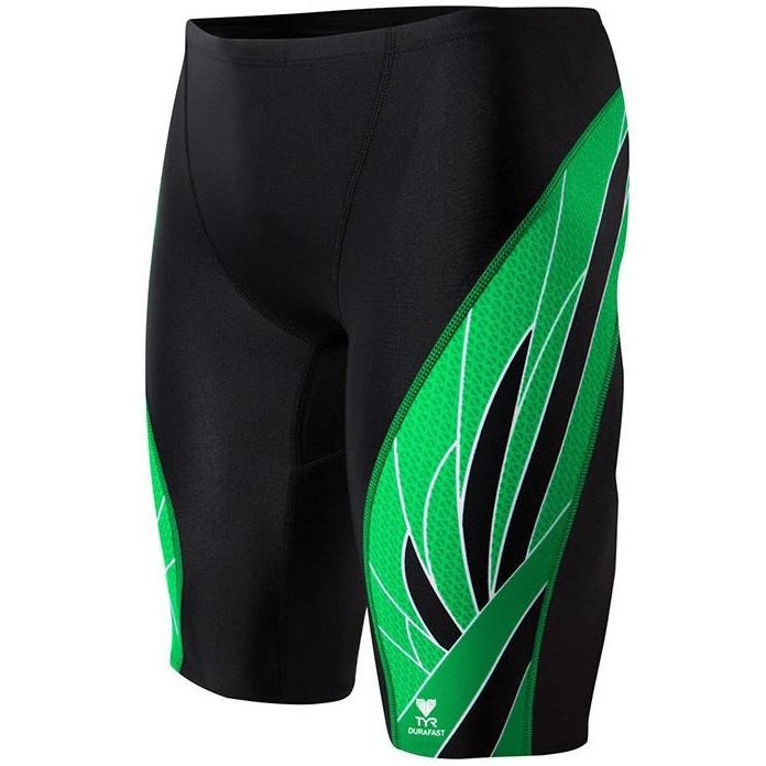 Men's Active And Racing Swimwear - TYR Phoenix Splice Jammer Swimsuit- Black/Green
