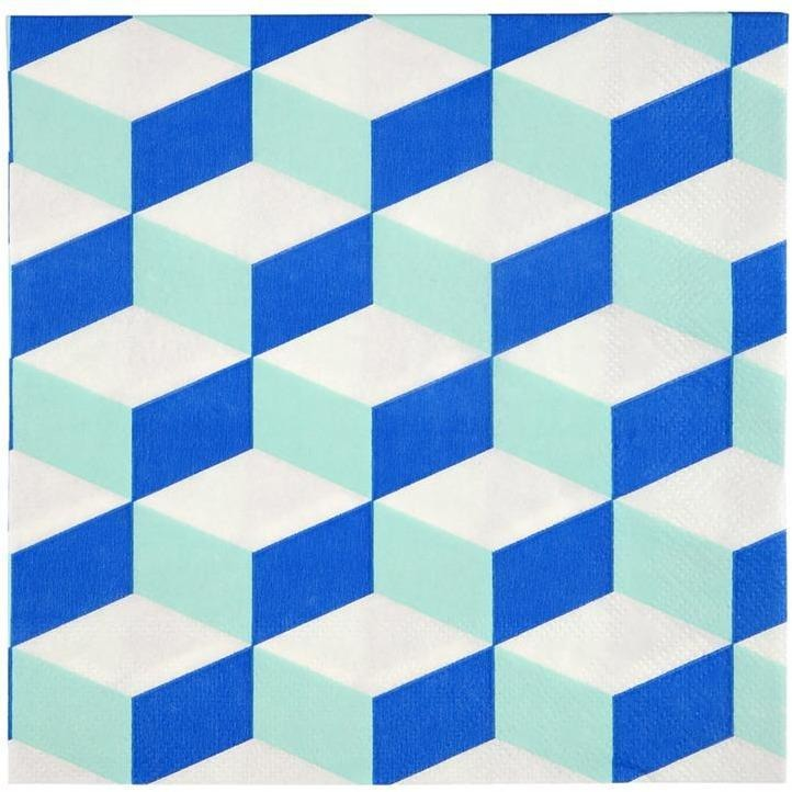 Napkins - Meri Meri Cubic Blue And Mint Patterned Large Napkin