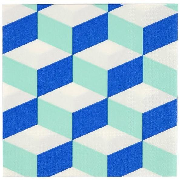 Napkins - Meri Meri Cubic Blue And Mint Patterned Small Napkin