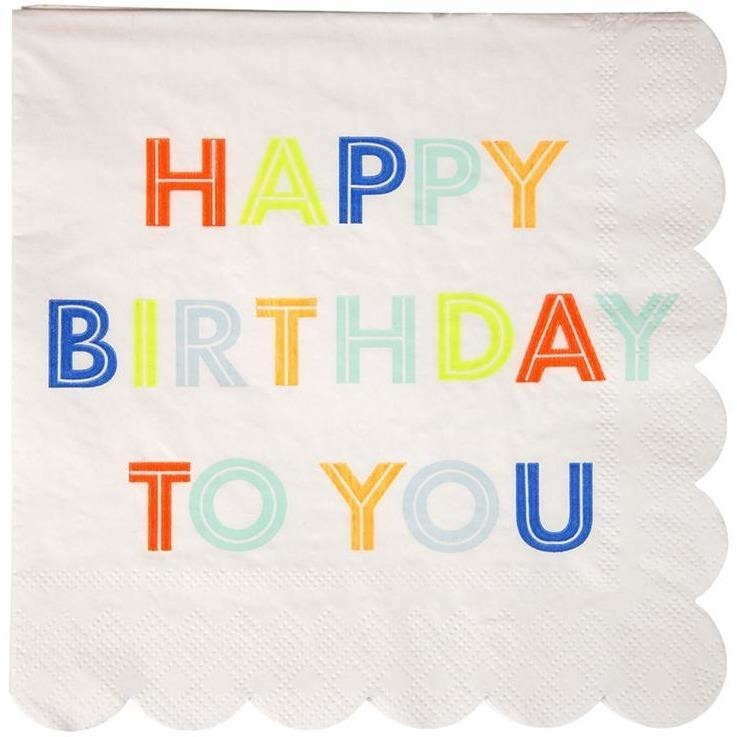 Napkins - Meri Meri Happy Birthday To You Large Napkins