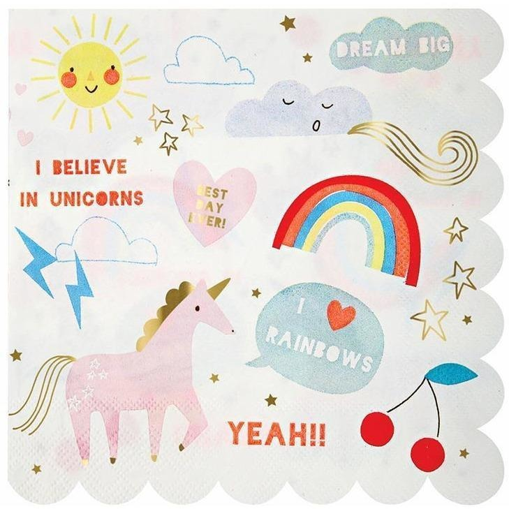 Napkins - Meri Meri Rainbow & Unicorn Large Napkin