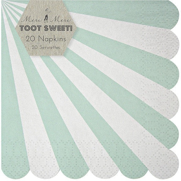 Meri Meri Toot Sweet Aqua Stripe Small Napkin - Napkins - Anglo Dutch Pools and Toys