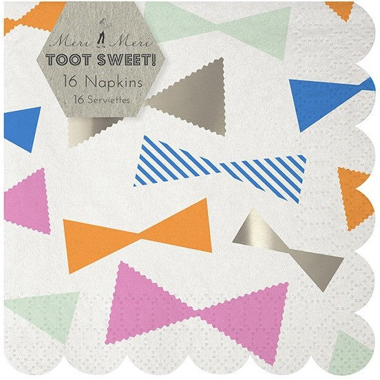 Meri Meri Toot Sweet Bow Pattern Small Napkin - Napkins - Anglo Dutch Pools and Toys
