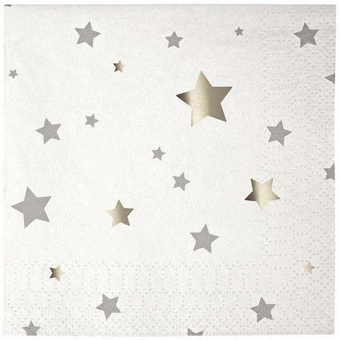Meri Meri Toot Sweet Silver Star Small Napkins - Napkins - Anglo Dutch Pools and Toys