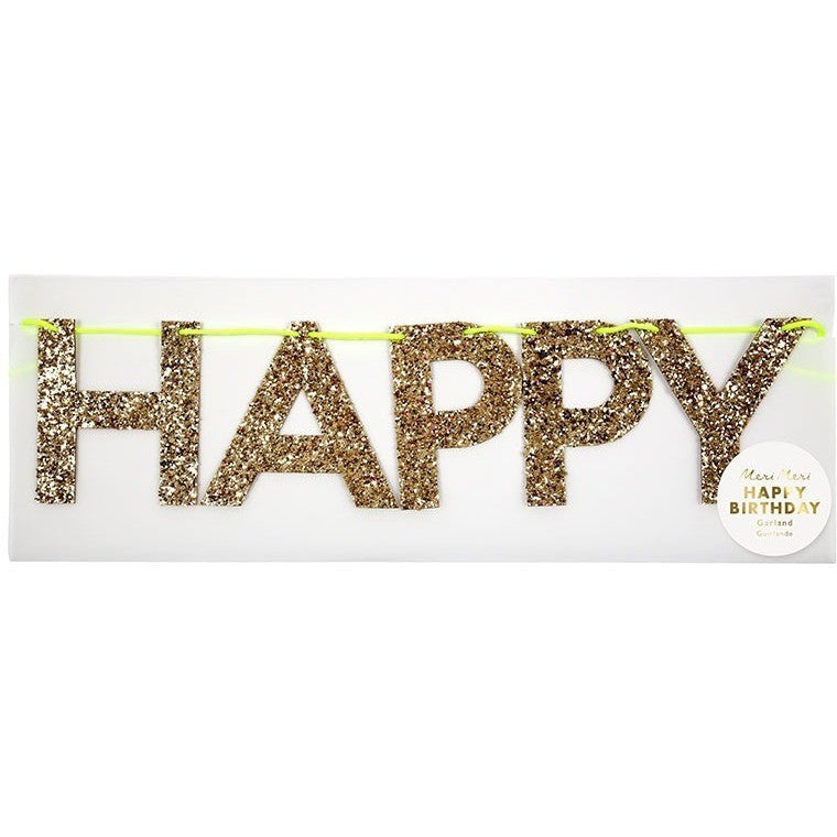 Party Banners - Meri Meri Gold Happy Birthday Garland