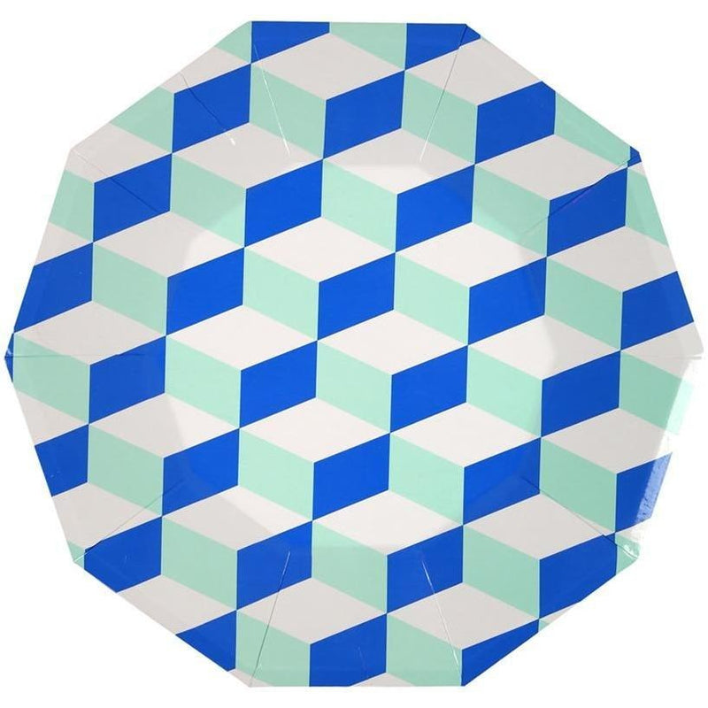 Party Plates - Meri Meri Cubic Blue And Mint Patterned Large Plates