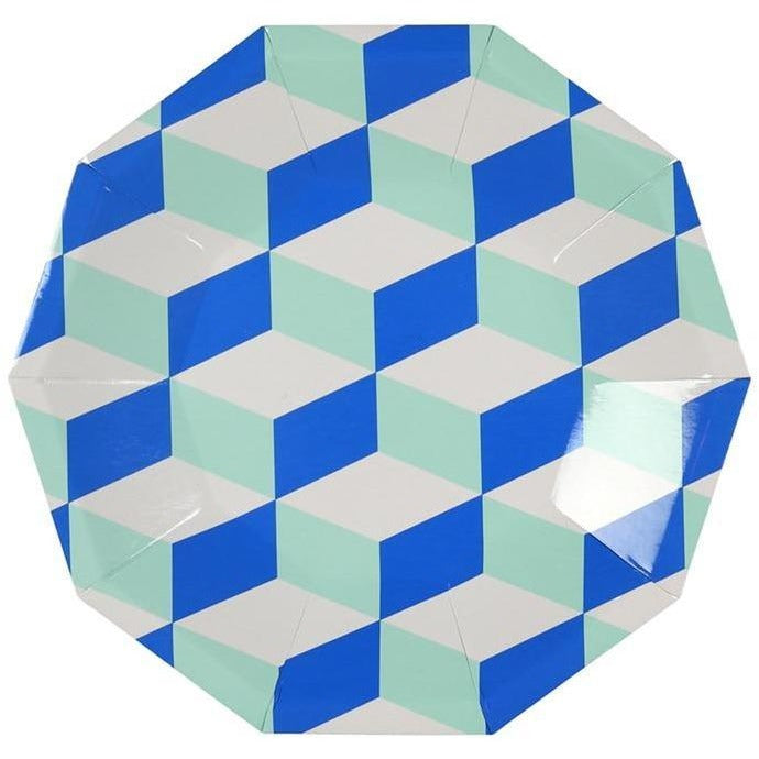 Party Plates - Meri Meri Cubic Blue And Mint Patterned Small Plates