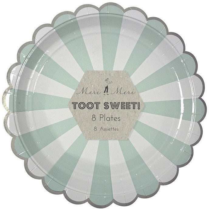 Meri Meri Toot Sweet Aqua Striped Large Plate - Party Plates - Anglo Dutch Pools and Toys