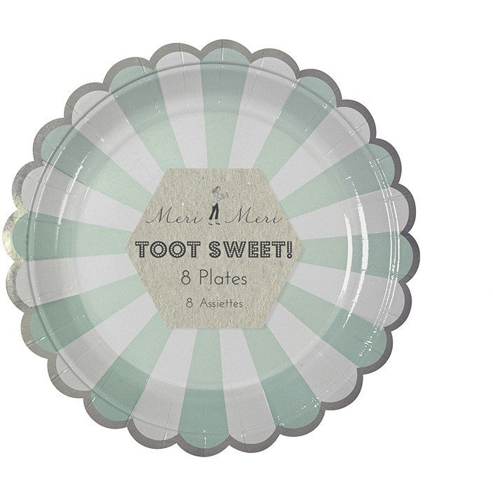 Meri Meri Toot Sweet Aqua Striped Small Plate - Party Plates - Anglo Dutch Pools and Toys