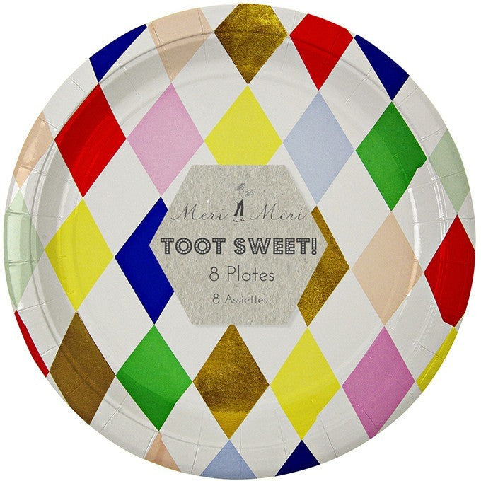 Meri Meri Toot Sweet Harlequin Large Round Plate - Party Plates - Anglo Dutch Pools and Toys