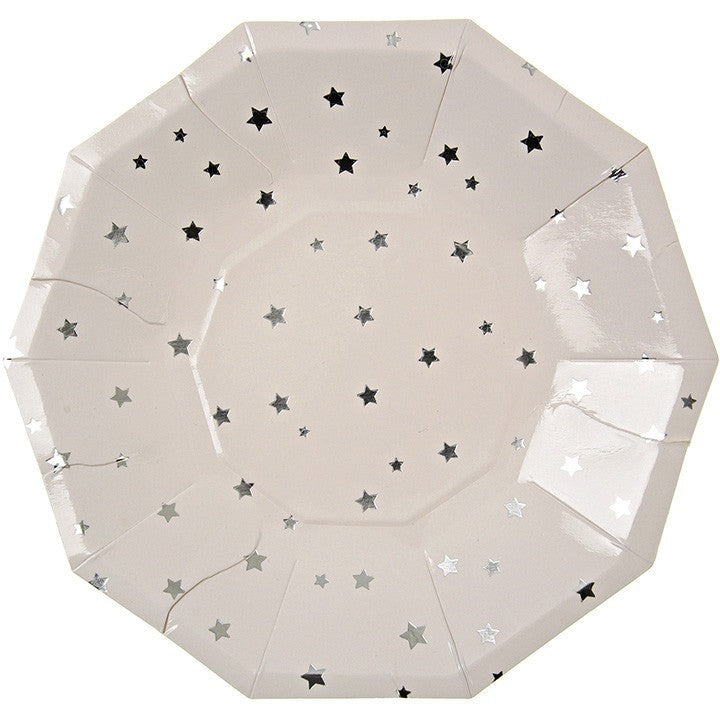 Meri Meri Toot Sweet Silver Stars Party Plate - Party Plates - Anglo Dutch Pools and Toys
