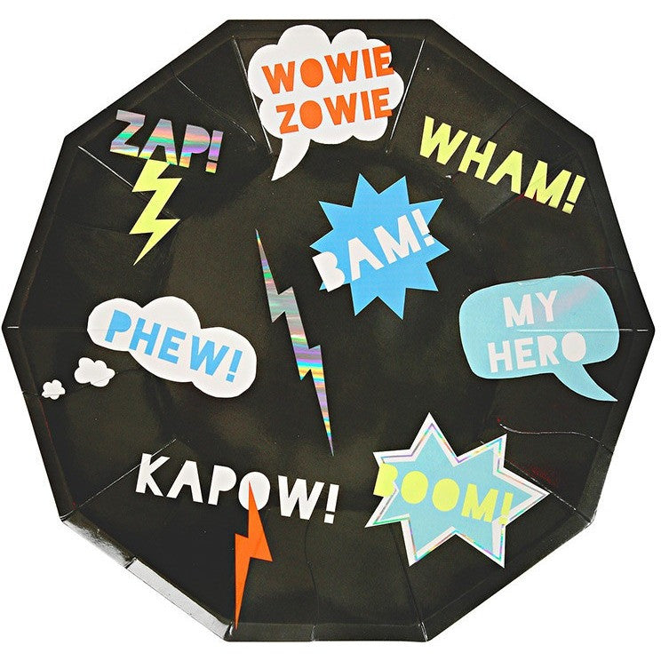 Meri Meri Zap! Super Hero Large Plates - Party Plates - Anglo Dutch Pools and Toys