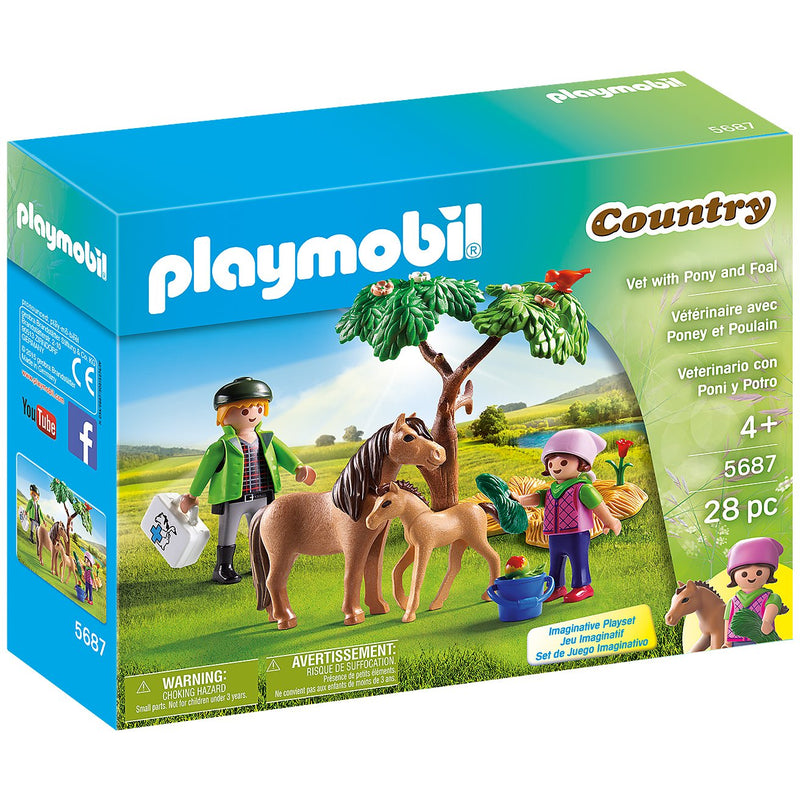 Playscapes - Playmobil 5687 Vet With Pony And Foal