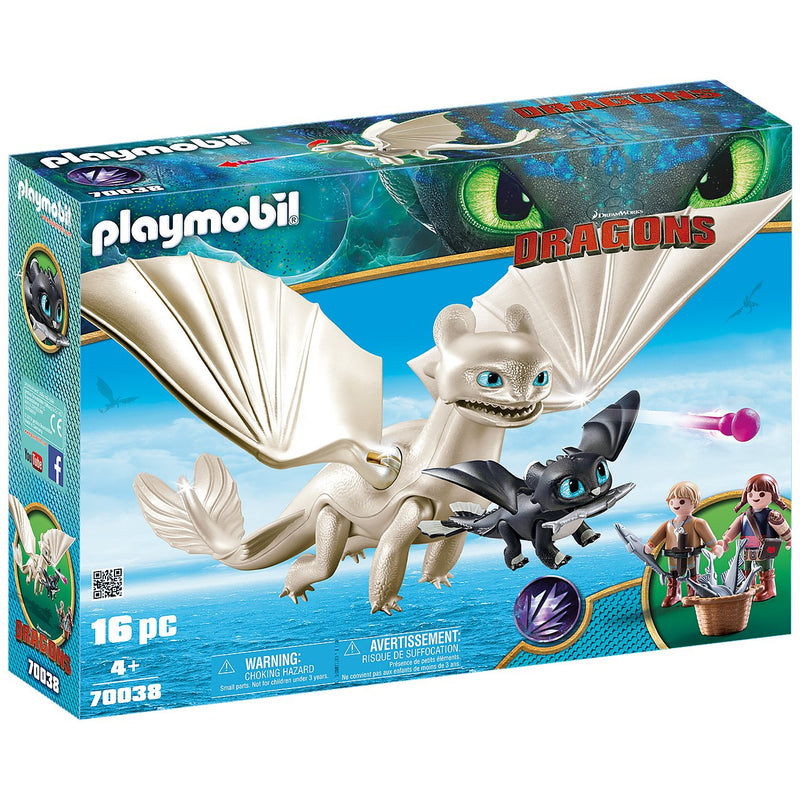 Playscapes - Playmobil 70038 Light Fury With Baby Dragon And Children