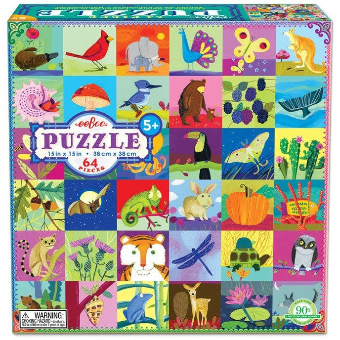 eeBoo Portraits of Nature 64 Piece Puzzle - Jigsaw Puzzles - Anglo Dutch Pools and Toys