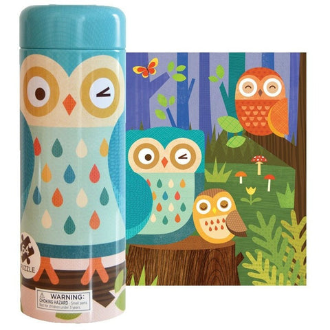 Petit Collage Tin Canister Owl Family- 64 pc Puzzle- - Anglo Dutch Pools & Toys  - 1
