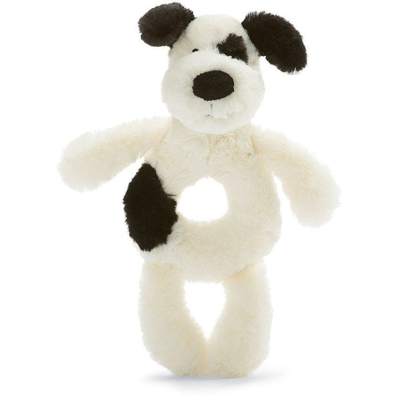 "Jellycat Bashful Black & Cream Puppy Grabber 7"" - Rattles and Teethers - Anglo Dutch Pools and Toys"