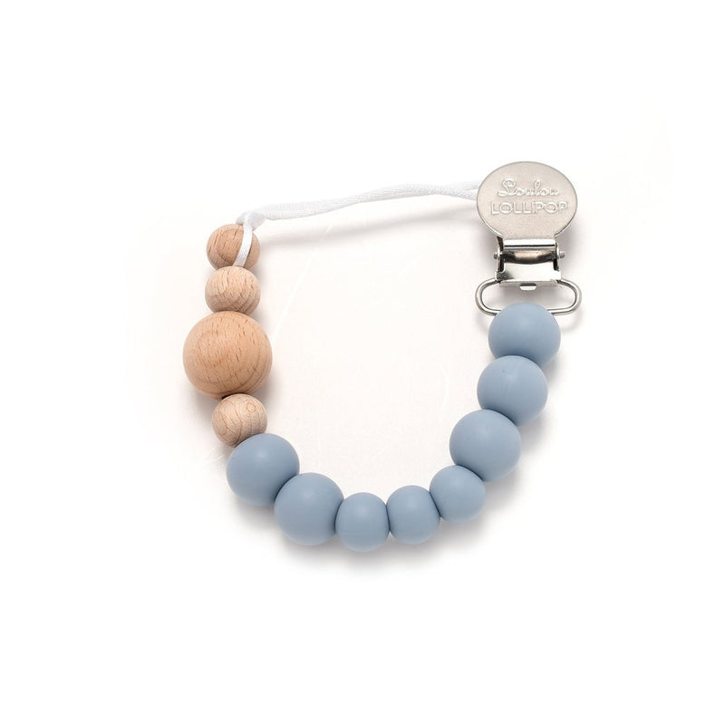 Rattles And Teethers - Loulou LOLLIPOP Colour Block Silicone & Wood Pacifier Clip - Dusty Blue