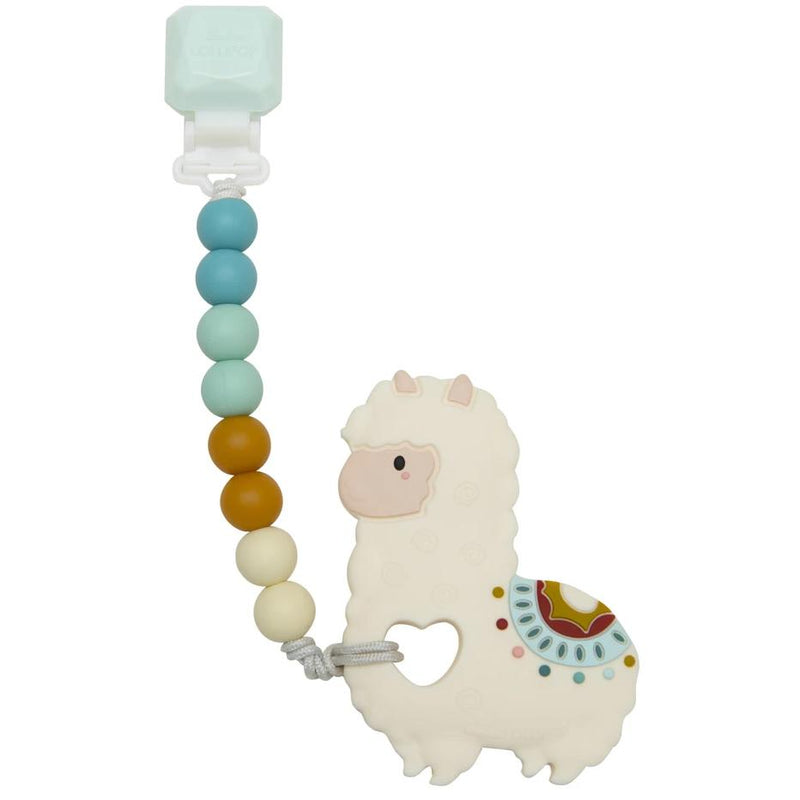 Rattles And Teethers - Loulou LOLLIPOP Gem Llama Silicone Baby Teether Holder Set
