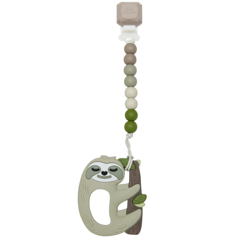 Rattles And Teethers - Loulou LOLLIPOP Gem Sloth Silicone Teether With Holder Set