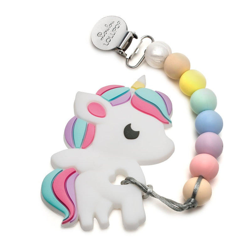 Rattles And Teethers - Loulou LOLLIPOP Rainbow Unicorn Silicone Teether Holder Set - Cotton Candy