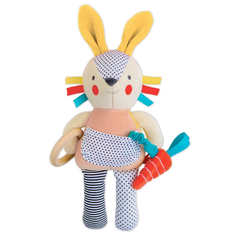 Rattles And Teethers - Petit Collage Busy Bunny Organic Activity Doll- Pink