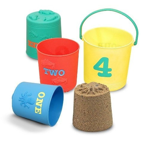 Melissa & Doug Sunny Patch Seaside Sidekicks Nesting Pails - Sand and Beach Toys - Anglo Dutch Pools and Toys